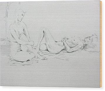 Wood Print featuring the drawing 2 Close Friends by Brian Sereda