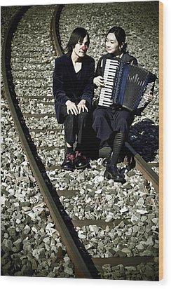 Clown Couple Wood Print by Joana Kruse