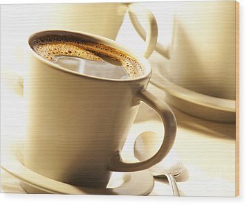Coffee In Cup Wood Print by Blink Images
