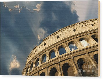 Coliseum. Rome. Lazio. Italy. Europe Wood Print by Bernard Jaubert