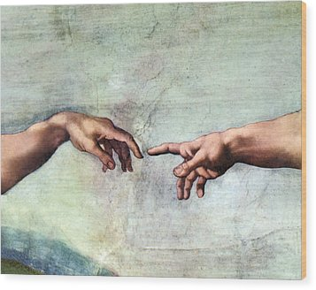 Creation Of Adam Wood Print by Sheila Terry