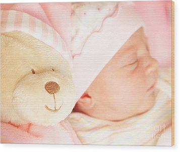 Cute Little Baby Sleeping Wood Print by Anna Om