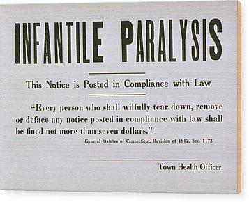 Early 20th Century Quarantine Sign Wood Print by Everett