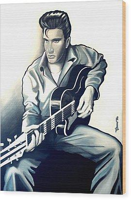 Elvis Wood Print by Jose Roldan Rendon