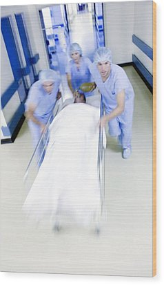 Emergency Hospital Treatment Wood Print by