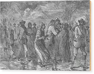 Escaping To Underground Railroad Wood Print by Photo Researchers