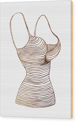 Fashion Sketch Wood Print by Frank Tschakert