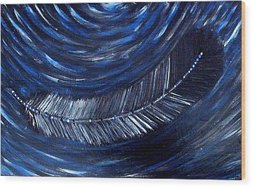 Wood Print featuring the painting Feather On Water by Monica Furlow