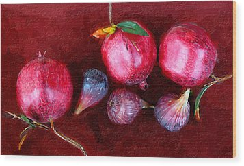 Figs And Pomegranates Wood Print by Ron Regalado