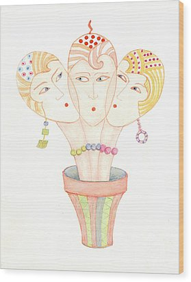 Wood Print featuring the painting Flower Pot Ladies by Nareeta Martin