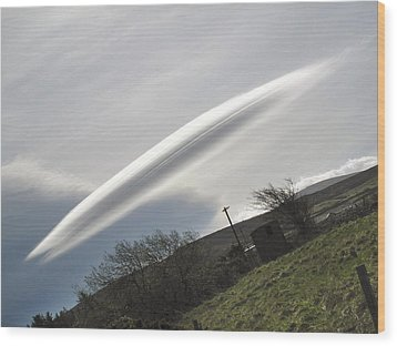 Flying Saucer Cloud Wood Print by Cordelia Molloy