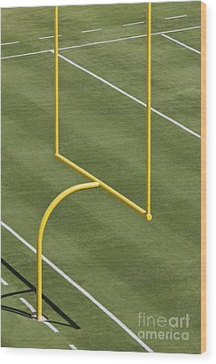 Football Goal Post Wood Print by Jeremy Woodhouse