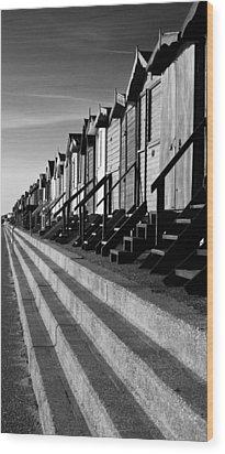 Frinton On Sea Beach Huts Wood Print by Darren Burroughs