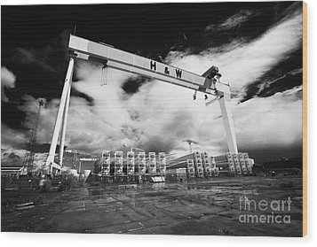 Giant Harland And Wolff Crane Goliath At Shipyard Titanic Quarter Queens Island Belfast Wood Print by Joe Fox