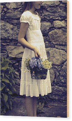 Girl With Flowers Wood Print by Joana Kruse
