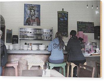2 Girls At The Bakery Bar Wood Print by Kym Backland