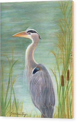 Great Blue Heron Watches By Pond Wood Print by Jeanne Kay Juhos