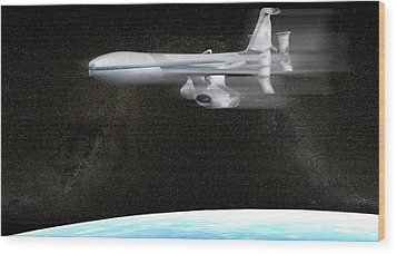 High Altitude Passenger Plane, Artwork Wood Print by Christian Darkin