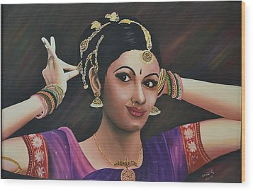 Indian Dancer Wood Print by Usha Rai
