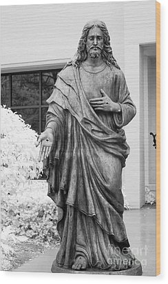 Jesus - Christian Art - Religious Statue Of Jesus Wood Print by Kathy Fornal