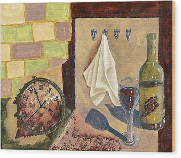 Kitchen Collage Wood Print by Susan Schmitz