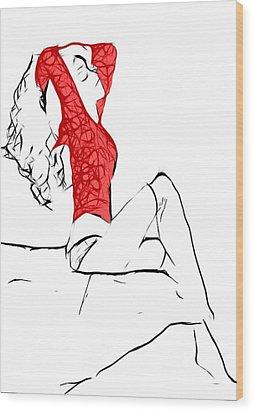 Lady In Red Wood Print by Steve K