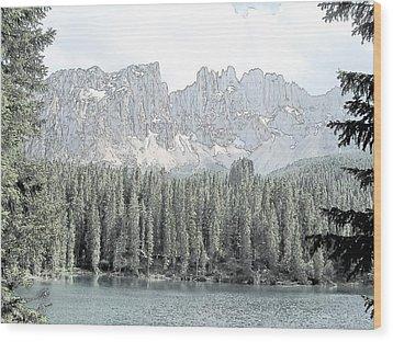 Lake Carezza Dolomites Italy  Wood Print by Joseph Hendrix