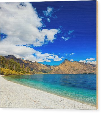 Lake Wakatipu Wood Print by MotHaiBaPhoto Prints