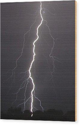 Lightning  Wood Print by Vonda Barnett