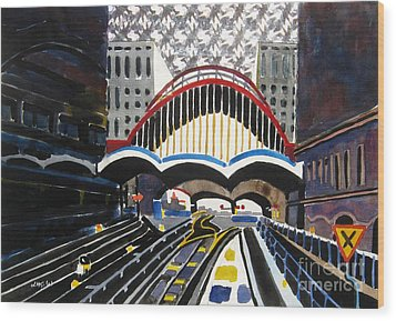 London Canary Wharf Station Wood Print by Lesley Giles