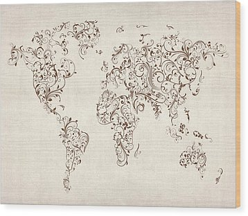 Map Of The World Map Floral Swirls Wood Print by Michael Tompsett