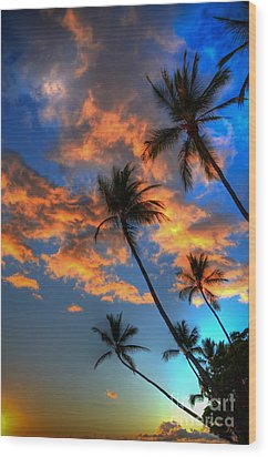 Maui Sunset Wood Print by Kelly Wade