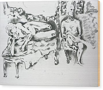 Wood Print featuring the drawing 2 Men And Broken Wall by Brian Sereda
