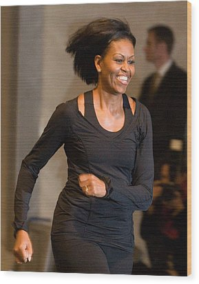 Michelle Obama At A Public Appearance Wood Print by Everett