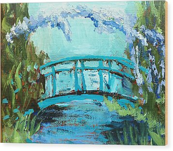 Monet's Bridge Wood Print by Joan Bohls