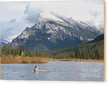 Mt Rundle Banff National Park Wood Print by Bob and Nancy Kendrick