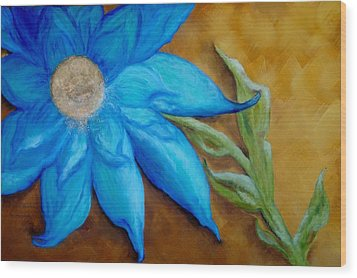 Wood Print featuring the painting My Only Sunshine by Annamarie Sidella-Felts