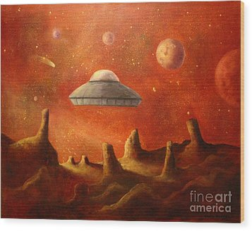 Mysterious Planet Wood Print by Randy Burns