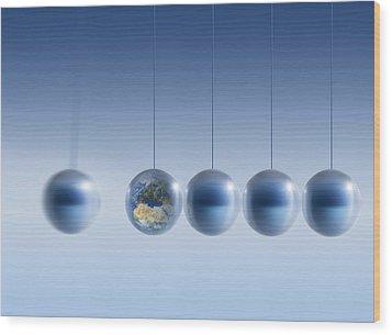 Newtonian Earth, Conceptual Artwork Wood Print by Detlev Van Ravenswaay