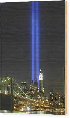 Nyc Tribute Lights Wood Print by Shane Psaltis