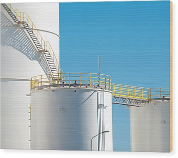 Wood Print featuring the photograph Oil Tanks by Hans Engbers