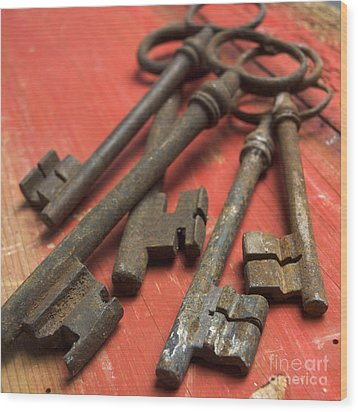 Old Keys Wood Print by Bernard Jaubert