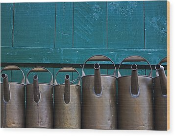 Old Watering Cans Wood Print by Joana Kruse