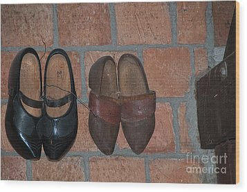 Wood Print featuring the digital art Old Wooden Shoes by Carol Ailles
