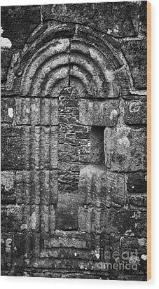 Ornate Carved Window In The 12th Century Banagher Old Church County Derry Londonderry Wood Print by Joe Fox
