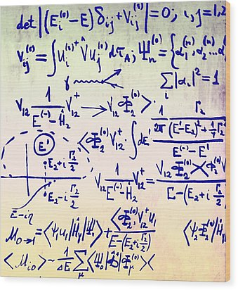 Particle Physics Equations Wood Print by Ria Novosti