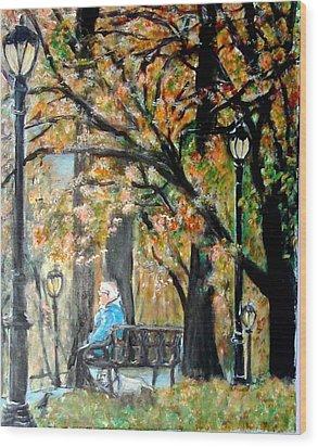 Peace In Central Park Wood Print by Lynn Carlson