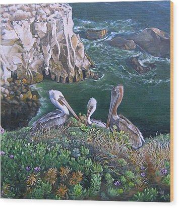 Pelican Point Wood Print by Lorna Saiki