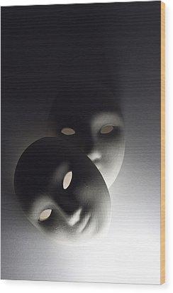 Plaster Masks In Studio Wood Print by Kantapong Phatichowwat