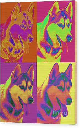 Pop Art Siberian Husky Wood Print by Renae Laughner